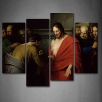 4 Panels Unframed Wall Art Pictures Christian Picture Canvas Print Modern Religion Posters No Frames For Living Room