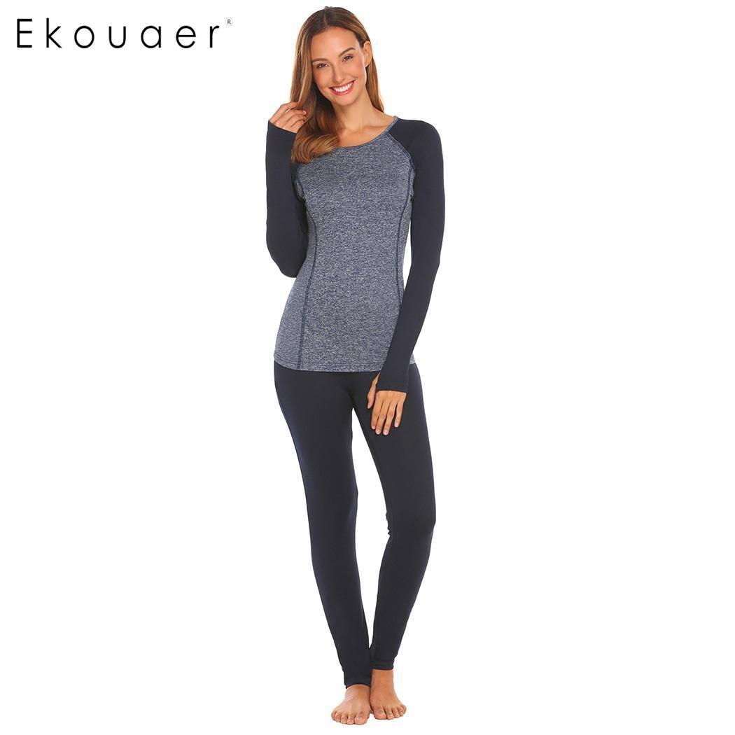 Ekouaer Women Underwear Set Breathable Warm Long Sleeve Johns Casual O-Neck Patchwork Blouse Elastic Waist Pants Sleepwear Sets