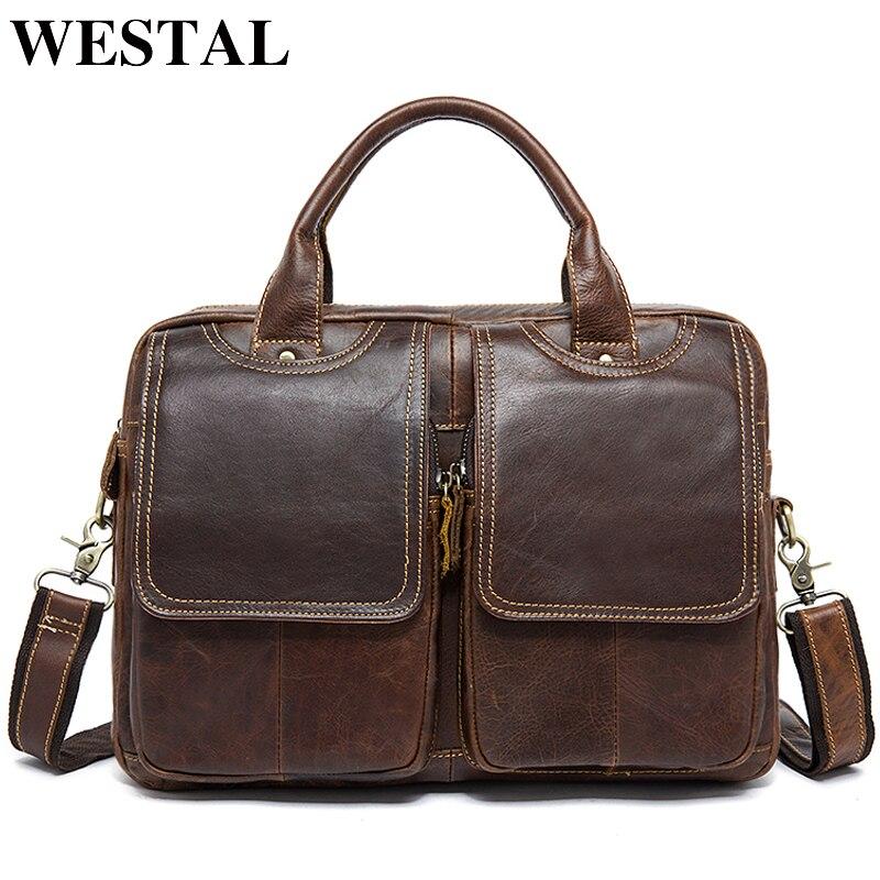 WESTAL hommes porte-documents en cuir pochette d'ordinateur hommes en cuir véritable sac pour hommes d'affaires sac de messager hommes bureau porte-documents 8002