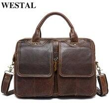 WESTAL men's briefcase leather laptop bag men's genuine