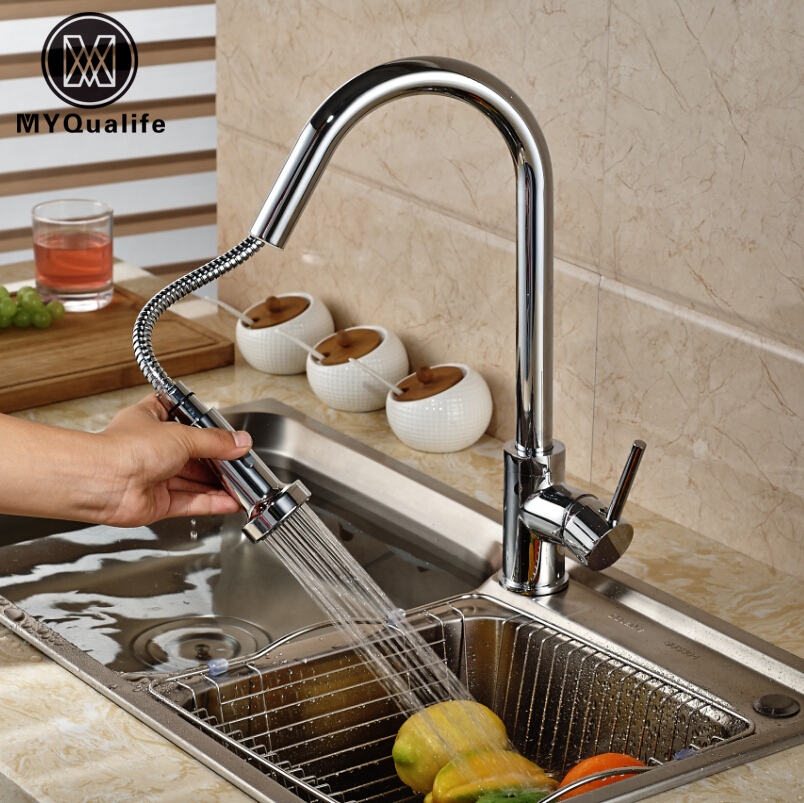 Chrome Brass Dual Sprayer Nozzle Kitchen Sink Faucet Deck Mount Pull Out down Hot Cold Mixer