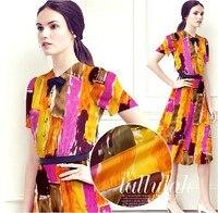 140 cm di larghezza 12mm orange colore stampa di seta tessuto per abiti camicia di vestito patchwork fai da te materiale e249