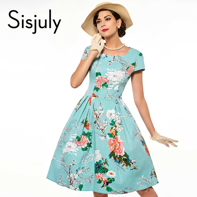 Sisjuly floral print vintage dress blue luxury party dresses style 1950s  retro rockabilly dress vestido de festa vintage dresses,in Dresses from
