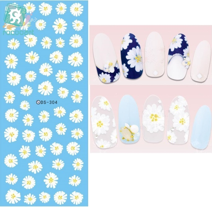 Rocooart DS304 Water Transfer Nails Art Sticker Harajuku Elements White chrysanthemum Nail Wraps Sticker Manicura nail Decal ds336 new design water transfer nails art sticker harajuku elements blue red shrimp shell nail wraps sticker manicura decal