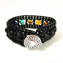 Cuff Bracelet Onyx Lava Stone 7 Chakra Leather Wrap Bracelets Handmade Bohemia Dropshipping