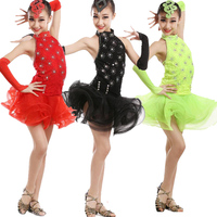 Girls Sequined Latin Dance Competition dress Kids Ballroom Fringe costumes Outfits Dress ice skating dresses for girls