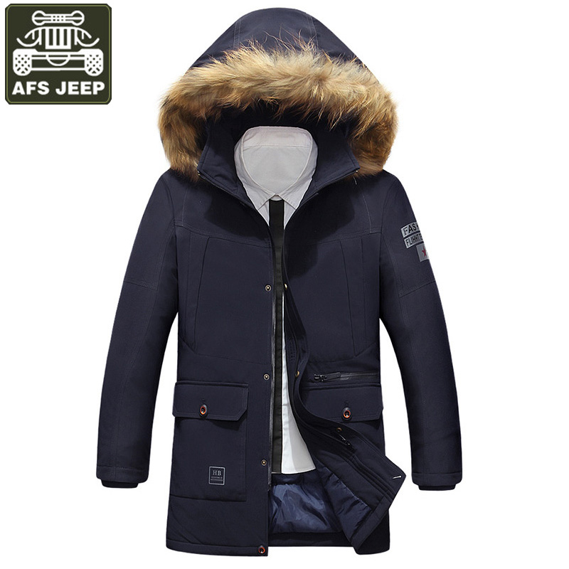 AFS JEEP Brand Winter Jacket Men Down Parkas Thick Warm Jacket Coat Long Style Men's Windbreaker Plus Size M-3XL Chaqueta Hombre 2015 new hot winter thicken warm woman down jacket coat parkas outerwear hooded loose straight luxury brand long plus size xl