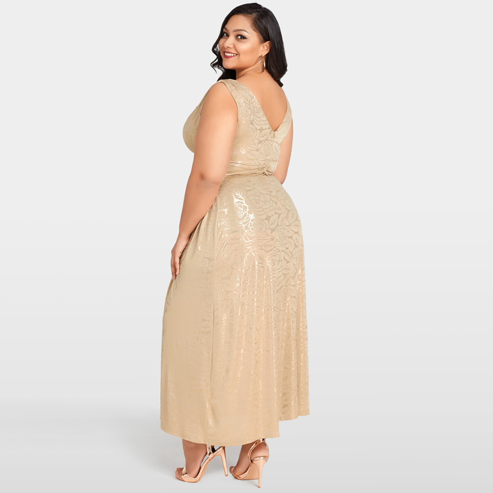 037a94eb93f2 Sexy Women Gold Floral Maxi Dress Plus Size 3XL 4XL 5XL Deep V Neck Banded  Waist Evening Party Dress female Clubwear Long Dress-in Dresses from Women's  ...