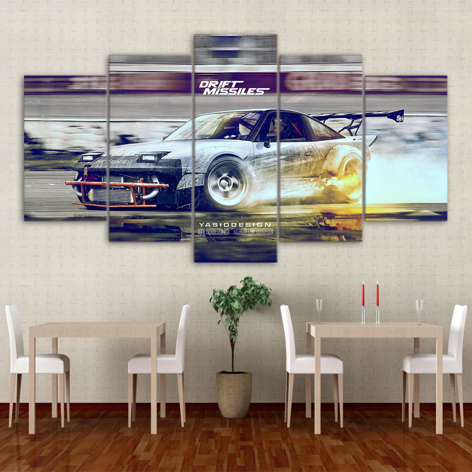 modular pictures frame wall art poster hd printed canvas 5 panel sport cool car painting fashion for living room decoration