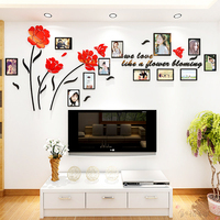3D creative photo wall Flower Butterfly Frame Acrylic Sofa TV Wall self adhesive Decoration Sticker Restaurant bedside poster