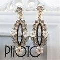 Hipérbole cristal barroco oscilación cuelga los pendientes calado cerámica novia pendientes de moda regalo de la joyería para mujer para el partido