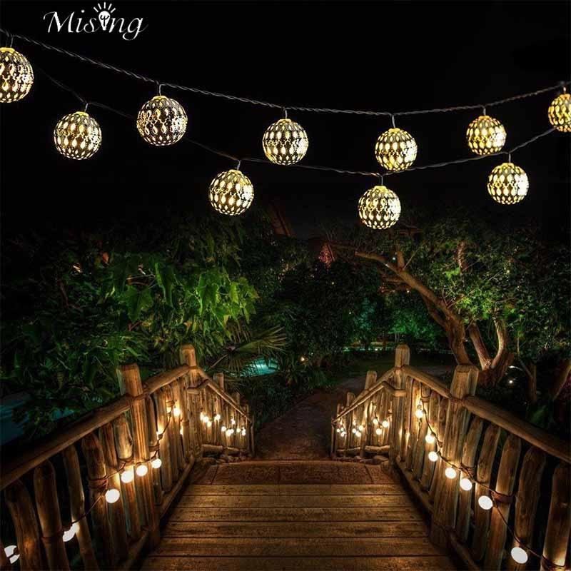 Mising SSL-12 4.8M 20 LED Bulb Solar Light String Morocco Ball Iron Silver Ball Lights Outdoor Christma Holiday Decorative Lamp