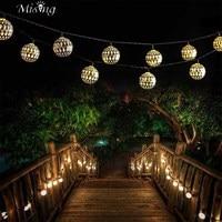 Versprechende SSL-12 4,8 Mt 20 Led-lampe Solar Lichterkette Marokko Ball Eisen Silber Ball Lichter Außen Christma Urlaub Dekorative lampe