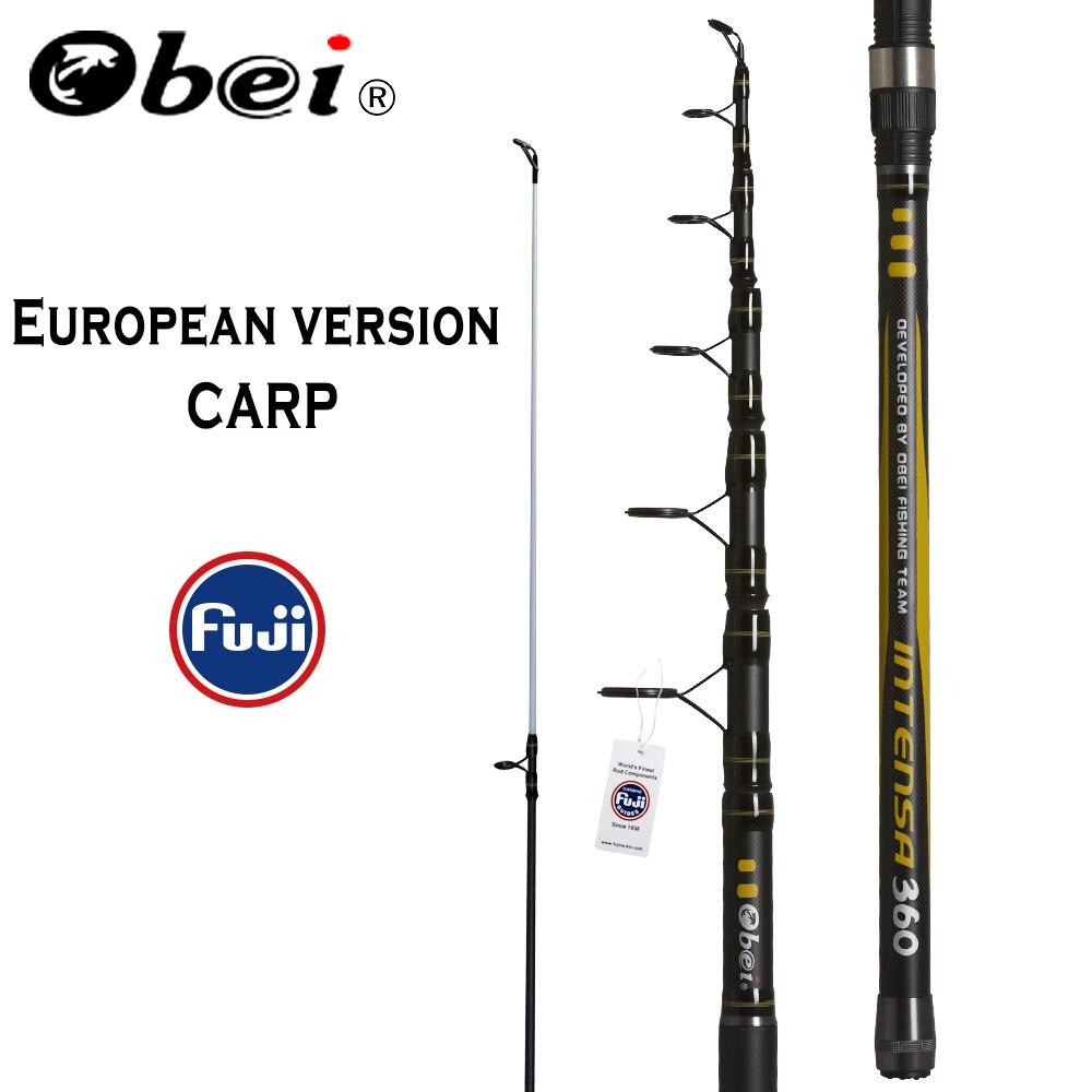 OBEI canne à pêche carpe 3.3 3.6m canne à pêche télescopique en Fiber de carbone pesca 3.25lb puissance 80-200g 11' 12' pôle dur