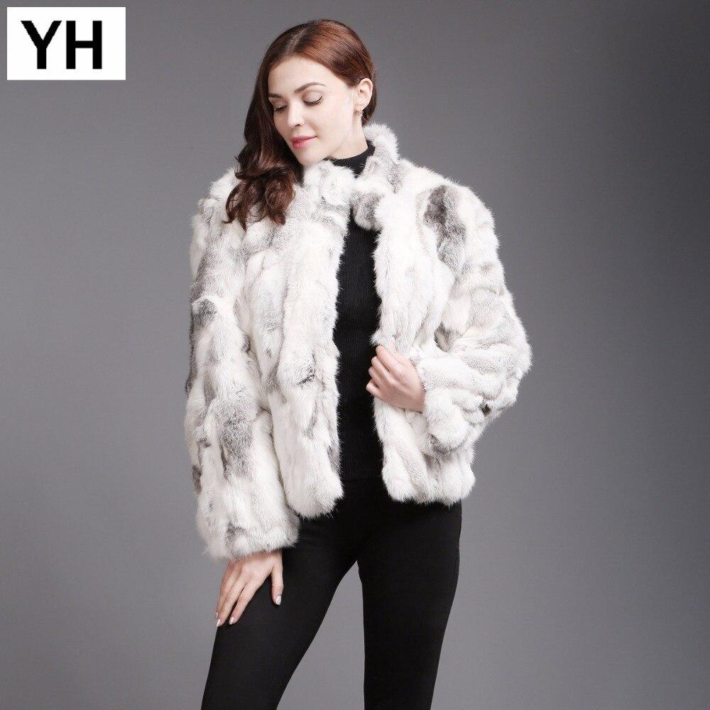 2019 neue Mode Dame Reinen Natürliche Kaninchen Fell Mantel Winter Warm Dicken Kaninchen Haar Jacke Hohe Qualität frauen Kaninchen pelz Kleidung-in Echtes Fell aus Damenbekleidung bei  Gruppe 1