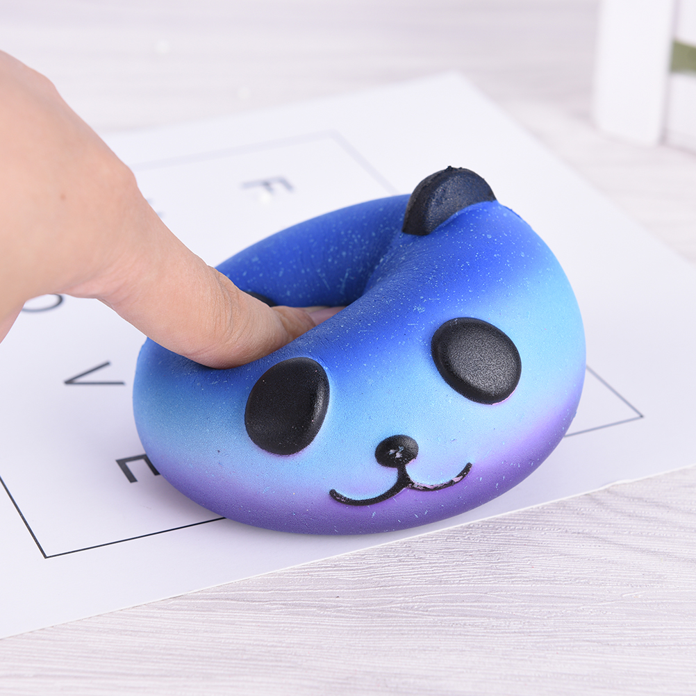 Fun Kid Toy Xmas Cartoon Cake Bun Jumbo 10cm Cute Emoji Colorful Face Panda Squishy Bread Slow Rising Excellent Quality Mobile Phone Straps