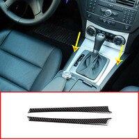 2pcs Real Carbon Fiber For Mercedes Benz C Class W204 C180 C200 C260 2007 2013 Car Gear Shift Side Decoration Stickers Parts