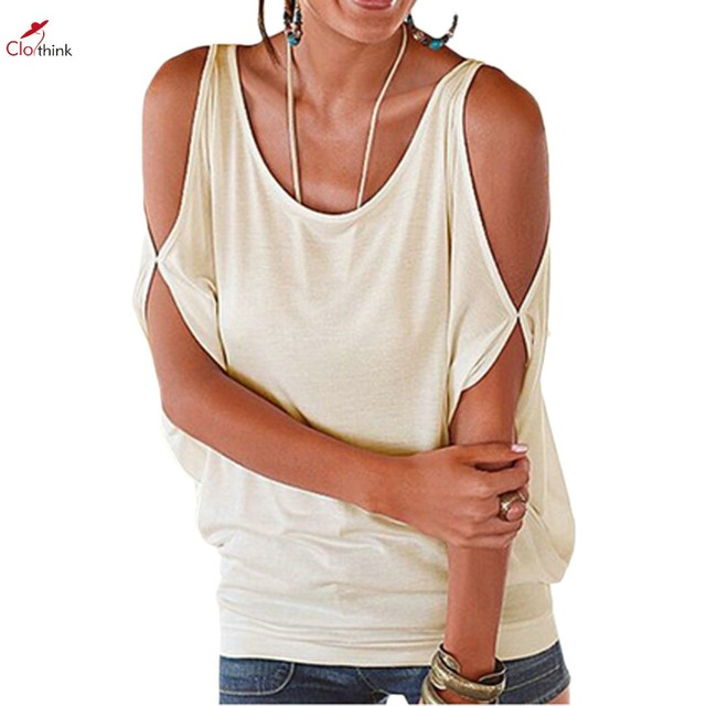 8c7d9488b73c79 Clothink Women Rose Red Beige Cut Out Cold Shoulder Tied Keyhole Back  Batwing Sleeve Loose T-shirt 2016 Oversized Casual Tops