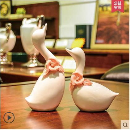white ceramic Swan lovers home decor crafts room decoration ornament porcelain animal figurines wedding decorations