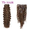# P4-27 100% cabelo humano brasileiro profunda curly grampo em extensões do cabelo não transformados profunda curly 7 / 8 pcs grampo na extensão do cabelo