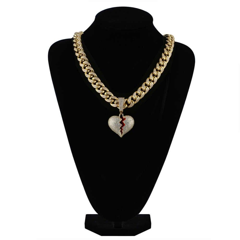 JINAO złoto srebro kolor złamane serce Iced Out Chian wisiorek i naszyjnik oświadczenie Cubic naszyjnik cyrkoniowy Hip Hop mężczyzn biżuteria prezenty