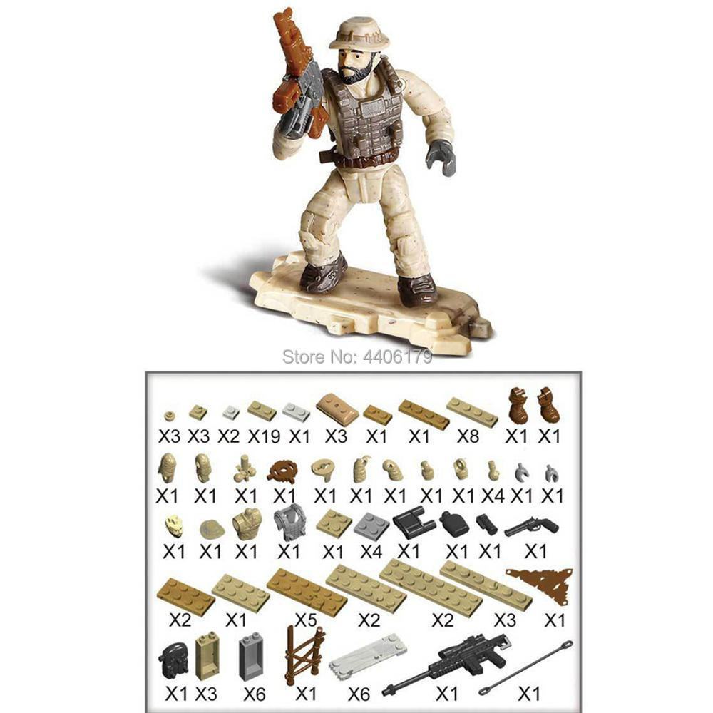 hot LegoINGlys military ww2 base Counter terrorism war Building Blocks mini army figure weapon moc bricks toys for children gift