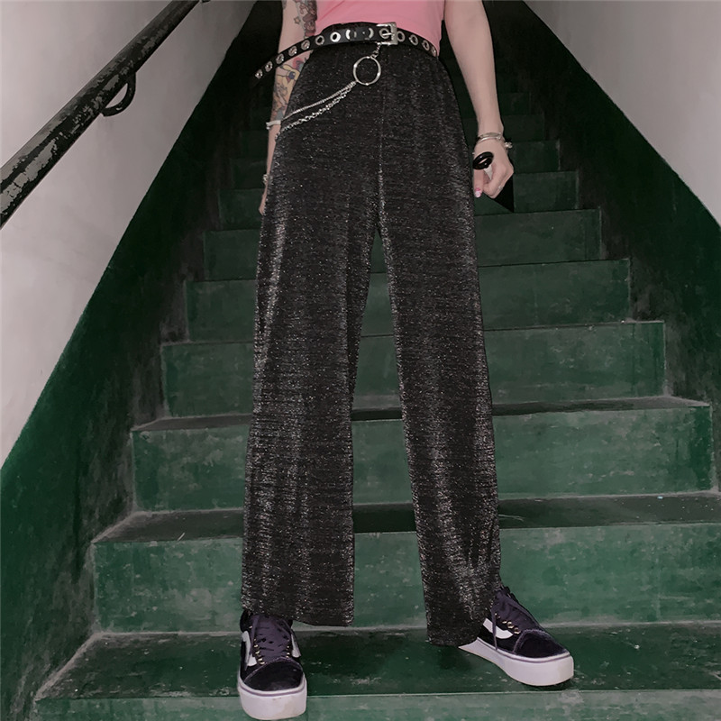 Streetwear   Pants   Women Casual Solid Glitter Sparkle Bling Trousers High Waist Loose Female Wide Leg   Pant   Ladies   Pants     Capris