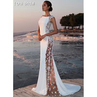 Sexy wedding Dress Sheer Side Lace Appliqued Bridal Gown