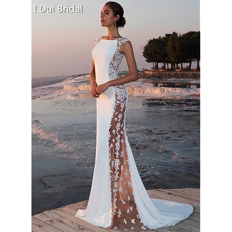 Star Wedding Dress Shop: Sexy Wedding Dress Sheer Side Lace Appliqued Bridal Gown