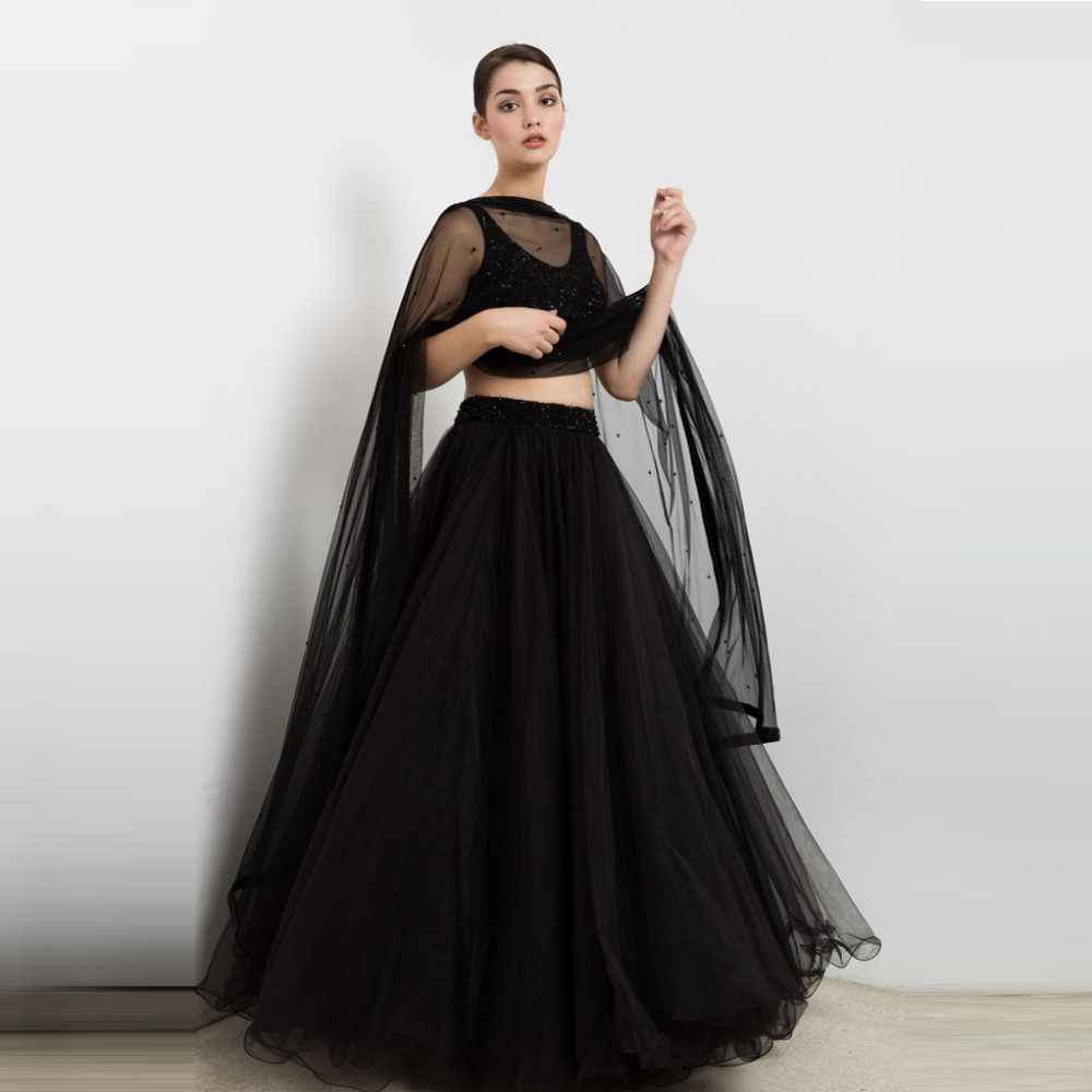 Black Two Piece Prom Dresses 2016 Sexy Women Party Dress With See