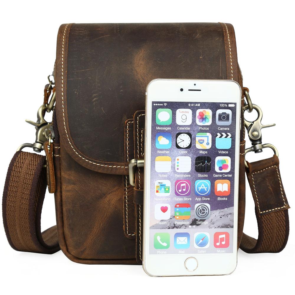 e29157bb813d 2018 Fashion Brand Vintage Genuine Cow Leather Messenger Crossbody Bag Men  Designer Satchel for Cell Phone Mini Shoulder Bag on Aliexpress.com