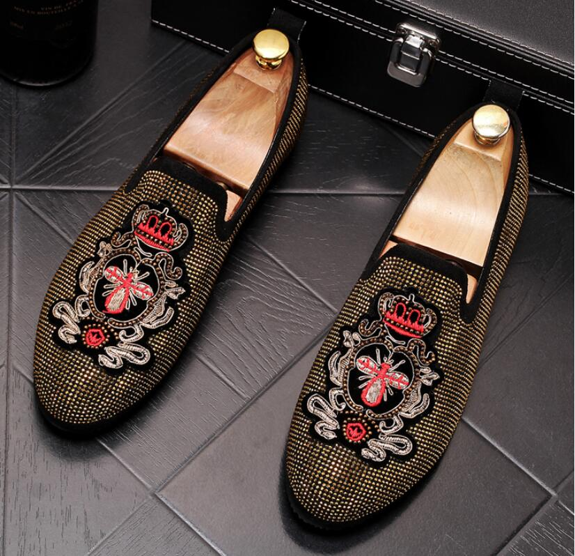 Handmade Gold Rhinestone embroidery bees Men's Suede Loafers Wedding Party Men Shoes Luxury Noble Elegant Dress Shoes for Men 1