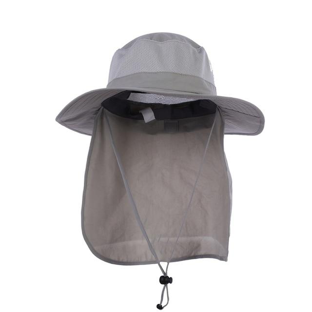 1db6a9ebb9b Outdoor Hiking Camping Neck Cover UV Protection Fishing Cap Visor Big Bucket  Hats Long Cloak Sunshade Hat