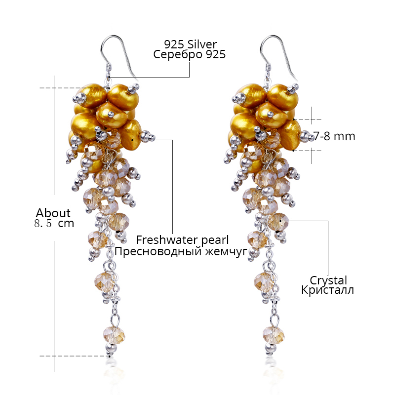 DAIMI 8.5cm Lange Quasten Ohrringe Kristall & Süßwasserperlen - Edlen Schmuck - Foto 4