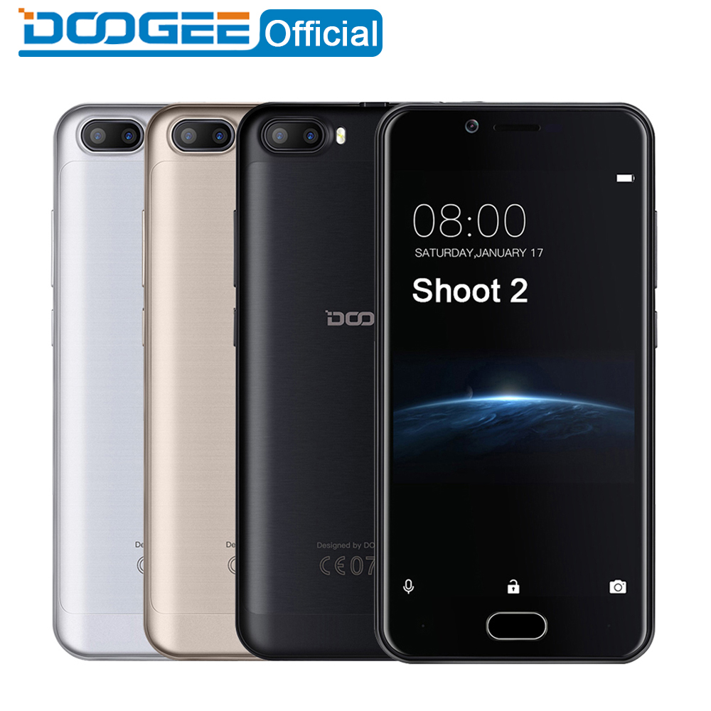 DOOGEE Shoot 2 Dual Camera mobile phones 5 0Inch Android 7 0 Cellphone Dual SIM MTK6580A