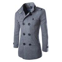 Прямая поставка осеннее Мужское пальто-Пыльник шерстяное пальто приталенная Верхняя одежда 2 вида цветов M-5XL AYG118