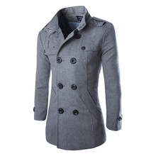 drop shipping autumn men dust coat woolen overcoat slim fit outwear 2 colors M-5XL AYG118 cheap Wool Blends Turn-down Collar Single Breasted Regular Wool Polyester Standard Long MISNIKI Polyester Wool Full Conventional