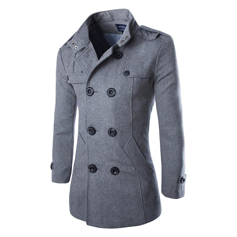 Drop Shipping Autumn Men Dust Coat Woolen Overcoat Slim Fit Outwear 2 Colors M-5XL AYG118
