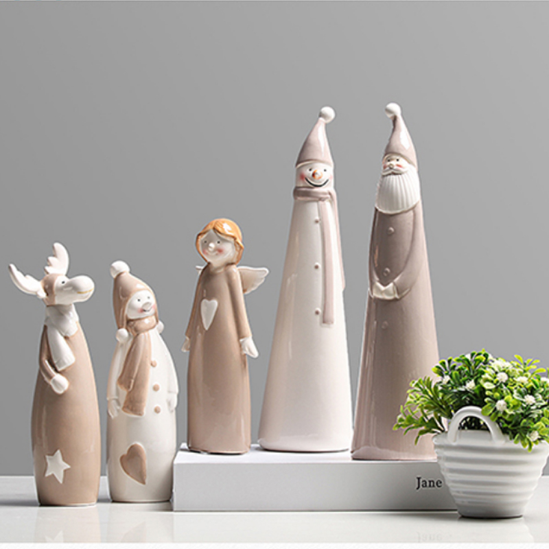 Nordic Creative Ceramic Christmas snowman miniature figurines Cartoon figurine garden Room home decoration accessories gifts