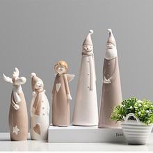 Nordic Creative Ceramic Christmas snowman miniature figurines Cartoon figurine garden Room home decoration accessories gifts
