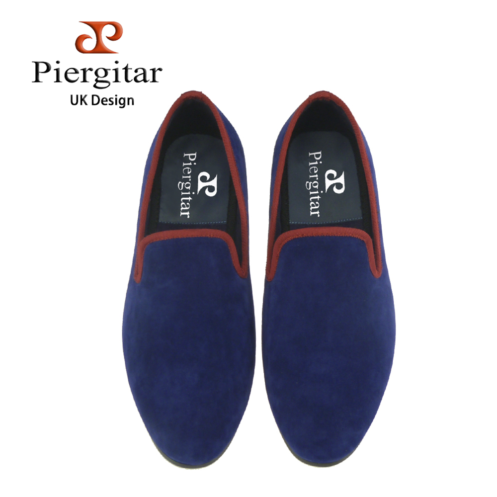 new plain sytle Handmade blue velvet with red trim Loafers men dress flats wedding and party british male casual shoes