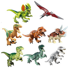 8Pcs Jurassic World Park Plastic Dinosaurs Tyrannosaurus Rex Pterosauria Triceratops Building Blocks Toys For Children blocks toy loz mini kids blocks jurassic world building blocks lot huge dinosaurs jurassic park christmas toys for children