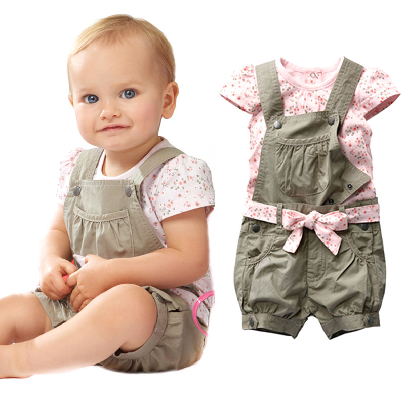 Retail 2016 Baby Girls Summer Suits Girls Cotton Clothing Sets For 0-2 Yrs Baby Floral t-shirt + Overalls + Belt Free Shipping baby girls summer suits sleeveless vest shirt cute floral harem pants floral sets