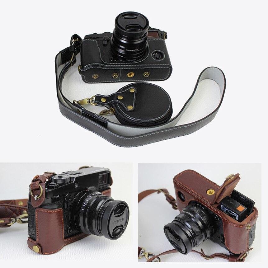 Etui en cuir véritable demi-sac pour appareil photo fuji film X-Pro2 Xpro II fuji XPRO2 housse pour appareil photo avec bandoulière et mini étui