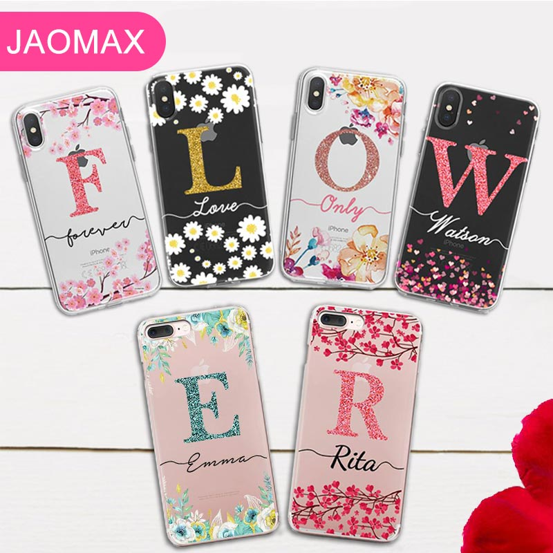 Us 5 49 Jaomax Glitter Flower Name Custom Case For Iphone Xs Max Xr 7 5 6s 8 Plus X Floral Leaves Covers For Iphone 8 Personalized Case In