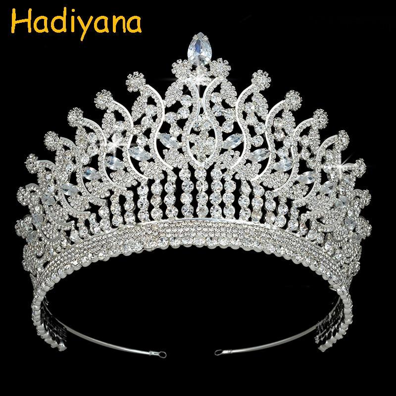 Diadem Hadiyana akcesoria do włosów biżuteria sześciennych cyrkon luksusowe ślubu panna młoda Party prezent dla kobiet BC3780 Corona Princesa w Biżuteria do włosów od Biżuteria i akcesoria na  Grupa 1