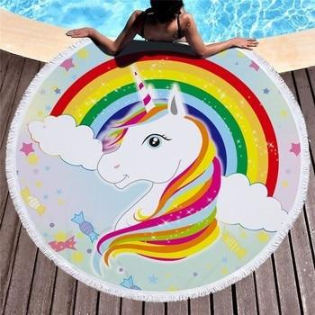 Cartoon Unicorn 150cm Round Beach Towel Wall Tapestry Picnic Blanket Portable Outdoor Sport Storage Bag Bundle Pocket Kids Gift 11