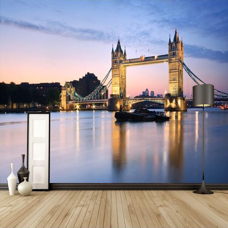 Custom 3D Mural Wallpaper European Style London Bridge Photo Wall Papers Home Decor Living Room Bedroom Backdrop Wallpaper Roll custom mural wallpaper european style 3d stereoscopic new york city bedroom living room tv backdrop photo wallpaper home decor