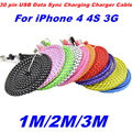New!!! 1M/2M/3M High Quality Braided Flat 30 pin USB Data Sync Charging Charger Cable Cord For iPhone 4 4S 3G