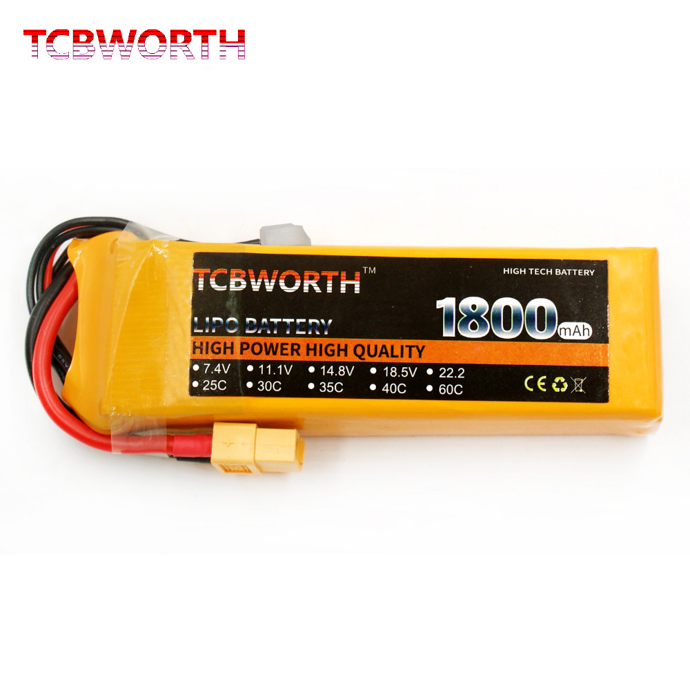 2PCS TCBWORTH 2S 7.4V 1800mAh 60C-120C RC LiPo battery For RC Airplane Helicopter Quadrotor High Rate Cell RC Li-ion battery